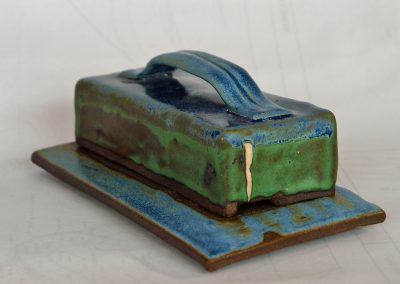 Butter Dish with knife slot Stoneware Reduction Fired