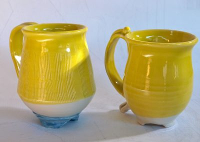 His'nHer Yellow Cups Stoneware Reduction Fired