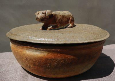 """Pig Pot"" 8"" diameter, Stoneware, Kazegama Ash-fired"