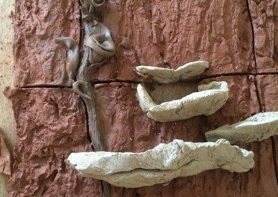 """Detail: Frank & Deedy's Fountain of shelf mushrooms in process Height: 6 ft Width: 24"""""""