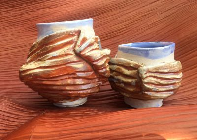 Blanket Cups on Palm Kazegama Ash-Fired Porcelain