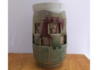 Double Walled window Cup Stoneware Reduction Fired