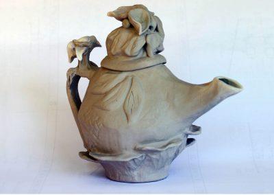 Botanical Tea Pot Stoneware Reduction Fired