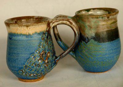 Blue Coffee Mugs Stoneware Reduction Fired
