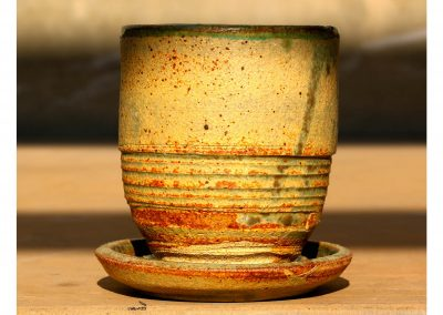 Teacup with saucer that is also a Lid Stoneware Reduction Fired