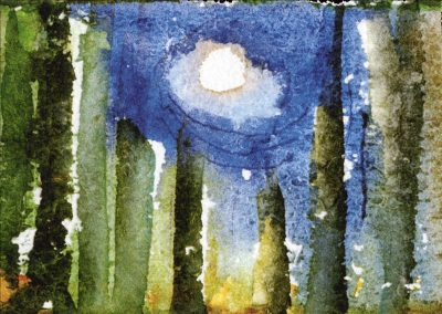 """""""Painting by campfire"""" 5""""x7"""" Watercolor"""