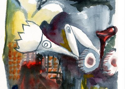 """Guernica Bulldozer"" 5""x7"" Watercolor"