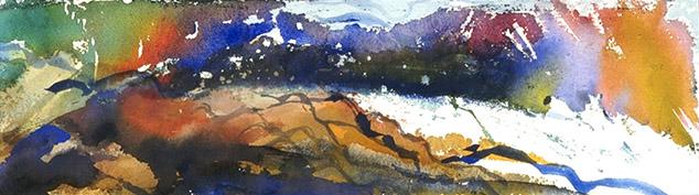 """)  """"Big Creek Pool #2""""  24""""x6"""" watercolor"""