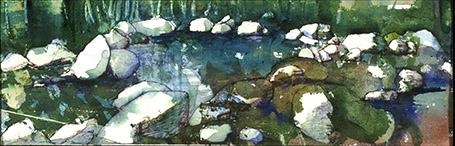 """""""Big Creek Pool""""  24""""x6"""" watercolor"""