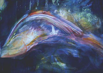 """""""Fish at Night""""  36""""x24"""" Watercolor"""