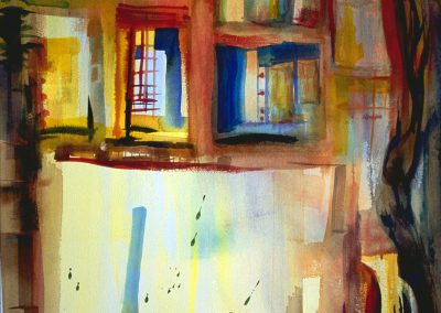 """""""Through the Window"""" 36""""x52"""" Watercolor"""